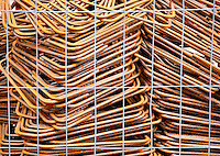 Ticino, Southern Switzerland. A pile of rusty rebars. Forms an interesting texture background.
