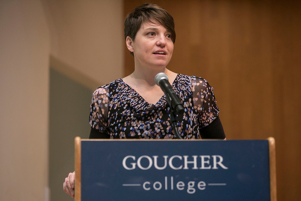 April 25, 2014, Baltimore, MD:<br /> Hall of fame inductee Sara Weaver '98 speaks during the Goucher Athletics 2014 Hall of Fame induction ceremony at Goucher College in Baltimore, Maryland Friday, April 25, 2014.<br /> (Photo by Billie Weiss)