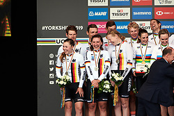 Lisa Klein (GER), Lisa Brennauer (GER) and Mieke Kröger (GER) share a joke on the podium at UCI Road World Championships 2019 Mixed Relay a 27.6 km team time trial in Harrogate, United Kingdom on September 22, 2019. Photo by Sean Robinson/velofocus.com
