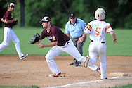 Falls first baseman DJ Endler makes a putout of Northampton's Sean Whalen #5 in the 3rd inning at Cairn University Tuesday July 14, 2015 in Langhorne, Pennsylvania.  (Photo by William Thomas Cain)
