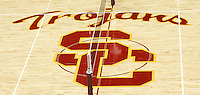 13 October 2006:  School logo with net on the floor. USC Trojans Women's Volleyball team plays their second home game in a new facility across the street from their school. The Galen Center is the new home for USC Volleyball, Basketball, Concerts and Special Events.<br />