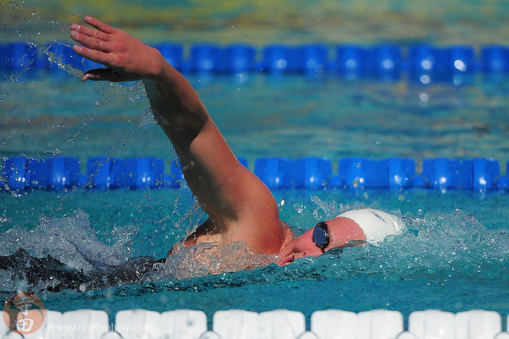 May 31, 2012; Santa Clara, CA, USA; Emily Brunemann (USA) competes during the women's 1500-meter freestyle in the Santa Clara international grand prix at the George F. Haines International Swim Center.