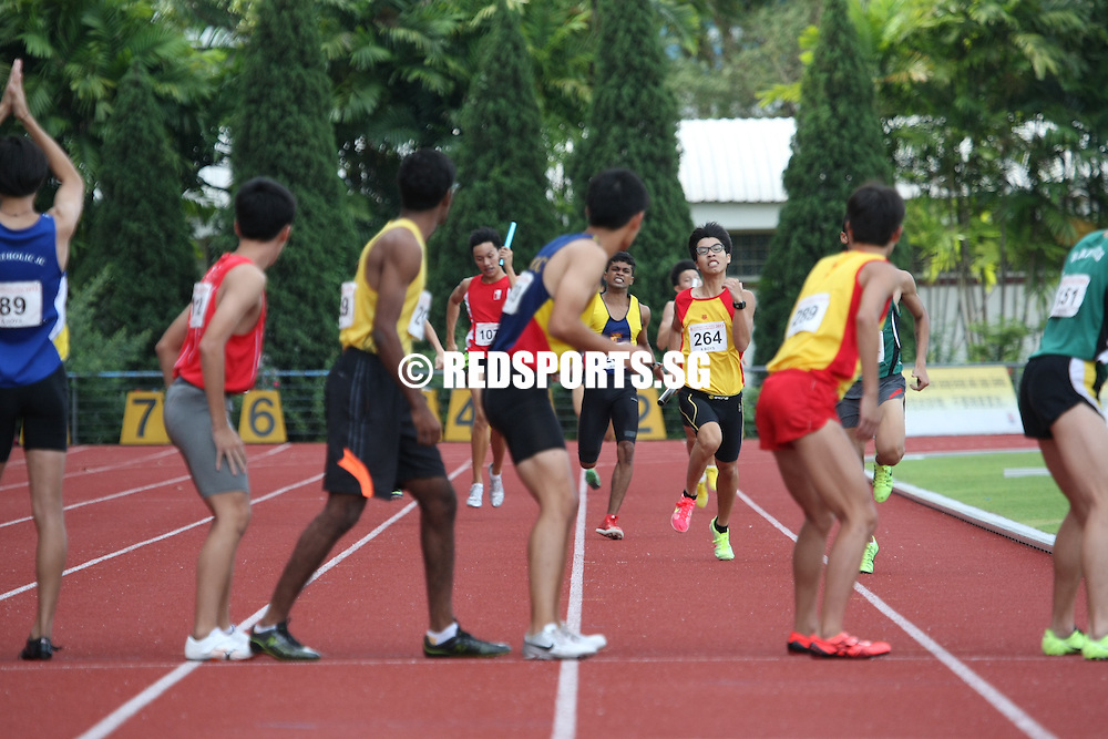 Choa Chu Kang Sports Complex, Wednesday, April 17, 2013 &mdash; Anglo-Chinese Junior College (ACJC) saw off the challenge of Hwa Chong Institution (HCI) to win the 4&times;400 metres relay gold at the 54th National Schools Track and Field Championships. Singapore Sports School took the gold medals in the B and C Division 4x400m relay finals. <br />