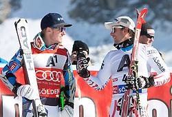 23.10.2011, Rettenbachferner, Soelden, AUT, FIS World Cup Ski Alpin, Herren, Riesenslalom, im Bild Ted Ligety (USA, Platz 1) und Philipp Schoerghofer (AUT, Platz 3) nach dem Rennen // during Mens ginat Slalom at FIS Worldcup Ski Alpin at the Rettenbachferner in Solden on 23/10/2011. EXPA Pictures © 2011, PhotoCredit: EXPA/ Johann Groder