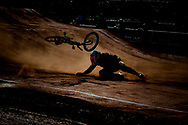 A rider crashes during the UCI BMX Supercross World Cup, Pietermaritzburg, 2011