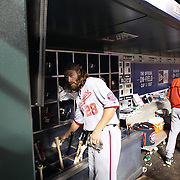 NEW YORK, NEW YORK - July 08: Jayson Werth #28 of the Washington Nationals in the dugout preparing to bat during the Washington Nationals Vs New York Mets regular season MLB game at Citi Field on July 08, 2016 in New York City. (Photo by Tim Clayton/Corbis via Getty Images)