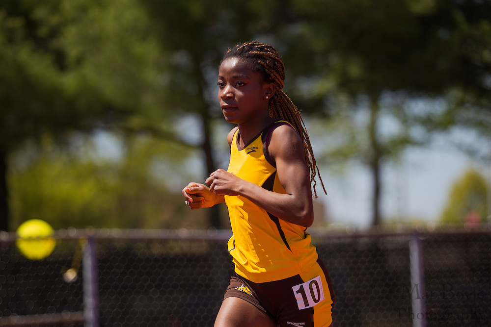 Rowan University's Onyinyechi Obelle competes in the women's 5000 meter at the NJAC Track and Field Championships at Richard Wacker Stadium on the campus of  Rowan University  in Glassboro, NJ on Sunday May 5, 2013. (photo / Mat Boyle)
