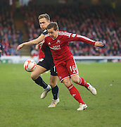 Dundee's Greg Stewart battles for the ball with Aberdeen's Peter Pawlett -  Aberdeen v Dundee, SPFL Premiership at Pittodrie<br />