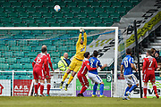 An Eastleigh corner hits the crossbar Wrexham AFC Goalkeeper, Shwan Jalal (1) during the Vanarama National League match between Eastleigh and Wrexham FC at Arena Stadium, Eastleigh, United Kingdom on 29 April 2017. Photo by Adam Rivers.