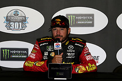July 20, 2018 - Loudon, NH, U.S. - LOUDON, NH - JULY 20: Martin Truex Jr., driver of the #78 5-Hour ENERGY/ Bass Pro Shops Toyota during a press conference before practice for the Monster Energy Cup Series Foxwoods Resort Casino 301 race on July, 20, 2018, at New Hampshire Motor Speedway in Loudon, NH. (Photo by Malcolm Hope/Icon Sportswire) (Credit Image: © Malcolm Hope/Icon SMI via ZUMA Press)
