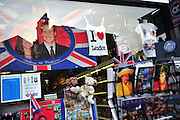 Kate and William merchandise is seen on display in London days before their wedding, April 26, 2011.  The Royal Wedding of Prince William and Kate Middleton will take place on April 29th, 2011.  UPI/Kevin Dietsch