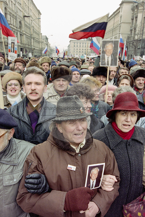 Russian citizens join a mass demonstration in support of President Boris Yeltsin March 28, 1993 in Moscow, Russia. Thousands marched through central Moscow ending in Red Square where Yeltsin addressed the crowd.