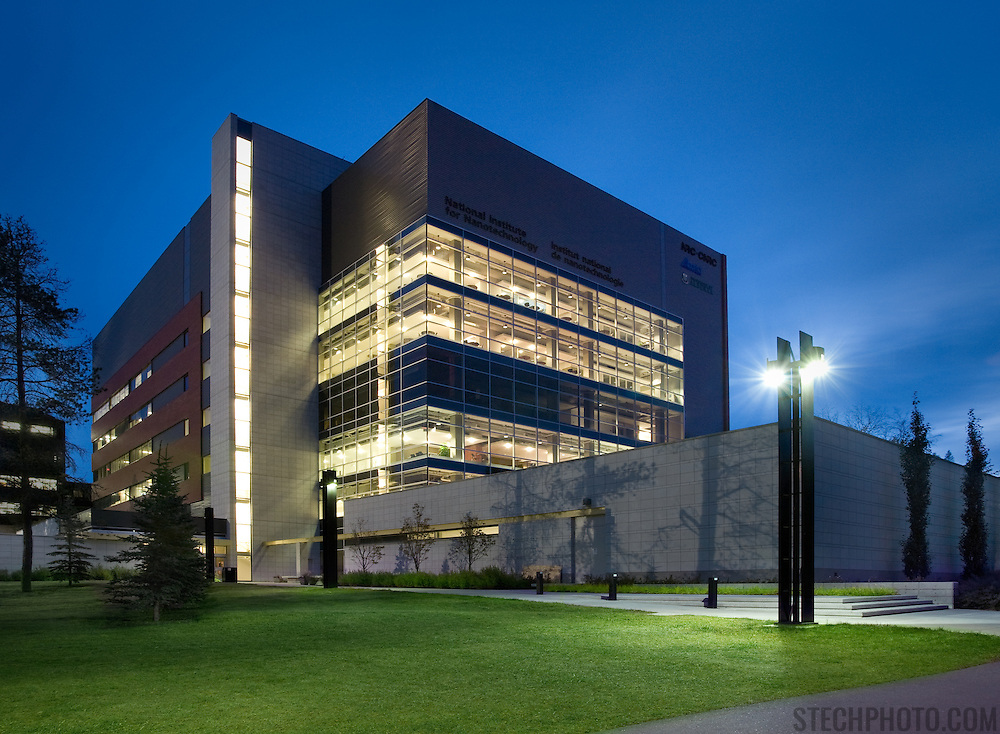 The exterior of the National Institute for Nanotechnology building at the University of Alberta in Edmonton, Canada.