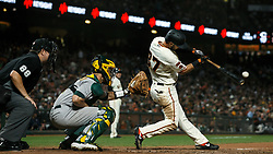 SAN FRANCISCO, CA - AUGUST 13: Joey Rickard #37 of the San Francisco Giants at bat against the Oakland Athletics during the seventh inning at Oracle Park on August 13, 2019 in San Francisco, California. The San Francisco Giants defeated the Oakland Athletics 3-2. (Photo by Jason O. Watson/Getty Images) *** Local Caption *** Joey Rickard