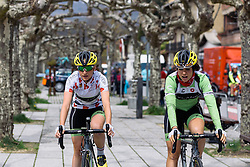 Doris Schweizer and Sheyla Gutierrez (Cylance Pro Cycling) make their way to sign in - Emakumeen Bira 2016 Stage 2 - A 109 km road stage from Extarri Arantz to Urkiola, Spain on 15th April 2016.