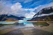 Enhanced photo of Rainbow Mendenhall Glacier. Southeast Alaska, Tongass National Forest.