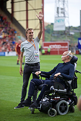 BRADFORD, ENGLAND - Saturday, July 13, 2019: Stephen Darby (L) with Chris Rimmer from the The Darby Rimmer MND Foundation before a pre-season friendly match between Bradford City AFC and Liverpool FC at Valley Parade. (Pic by David Rawcliffe/Propaganda)