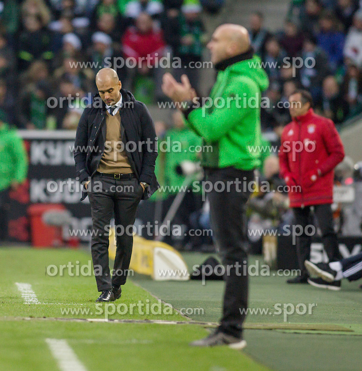 05.12.2015, Stadion im Borussia Park, Moenchengladbach, GER, 1. FBL, Borussia Moenchengladbach vs FC Bayern Muenchen, 15. Runde, im Bild Trainer Pep Guardiola (FC Bayern Muenchen) mit gesenktem Kopf mit Trainer Andre Schubert (Borussia Moenchengladbach) // during the German Bundesliga 15th round match between Borussia Moenchengladbach and FC Bayern Muenchen at the Stadion im Borussia Park in Moenchengladbach, Germany on 2015/12/05. EXPA Pictures &copy; 2015, PhotoCredit: EXPA/ Eibner-Pressefoto/ Sch&uuml;ler<br /> <br /> *****ATTENTION - OUT of GER*****