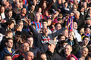 JAMES BOARDMAN / 07967642437.Palace fans chanting during the NPower Championship play-off semi-final first leg between Crystal Palace and Brighton and Hove Albion at Selhurst Park in London. May 10 2013.