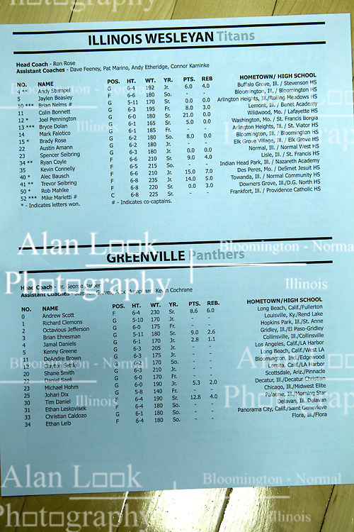 17 November 2015:  roster during an NCAA men's division 3 CCIW basketball game between the Greenville College Panthers and the Illinois Wesleyan Titans in Shirk Center, Bloomington IL