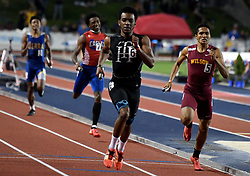 May 25, 2019 - Clovis, California, U.S. - Jay Williams of Trabuco Hills runs the anchor leg and wins the 4x400 relay prelim during the CIF State Track and Field meet at Buchanan High School on Friday, May 24, 2019 in Clovis, California. (Credit Image: © Keith Birmingham/SCNG via ZUMA Wire)