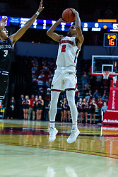 NORMAL, IL - October 23: Zach Copeland takes a long 3 while defended by Brodric Thomas during a college basketball game between the ISU Redbirds and the Truman State Bulldogs on October 23 2019 at Redbird Arena in Normal, IL. (Photo by Alan Look)