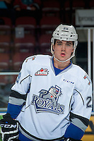 KELOWNA, CANADA - OCTOBER 26: Chaz Reddekopp #29 of the Victoria Royals warms up against the Kelowna Rockets on October 26, 2016 at Prospera Place in Kelowna, British Columbia, Canada.  (Photo by Marissa Baecker/Shoot the Breeze)  *** Local Caption ***