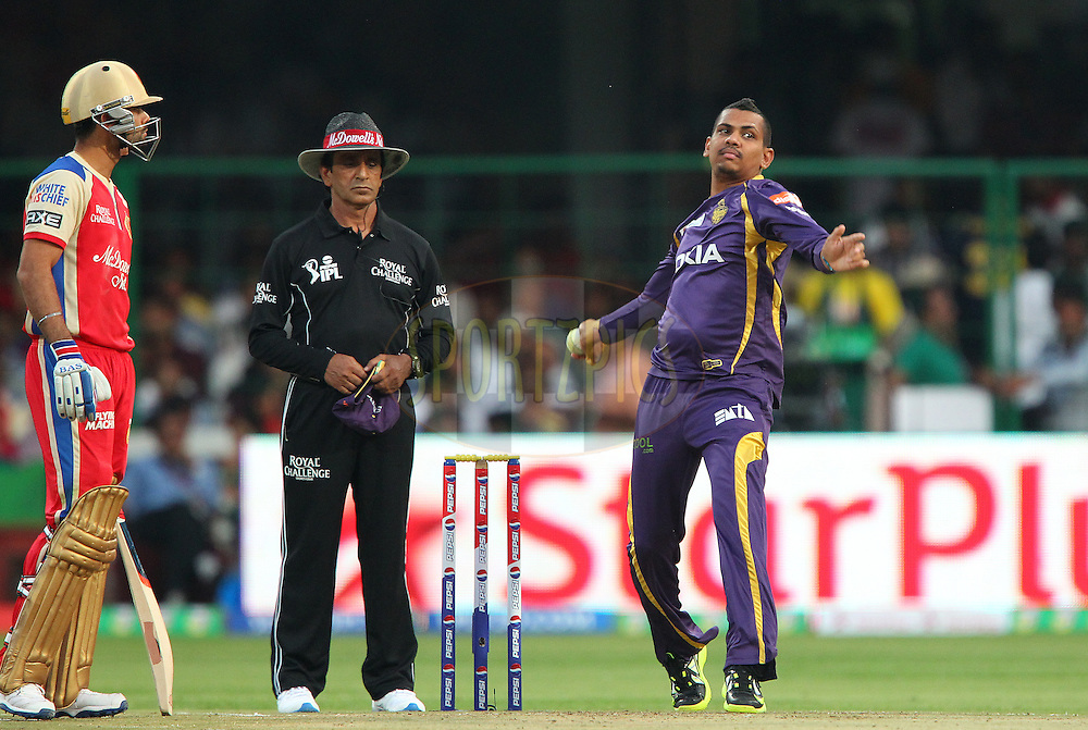 Sunil Narine during match 12 of the Pepsi Indian Premier League between The Royal Challengers Bangalore and The Kolkata Knight Riders  held at the M. Chinnaswamy Stadium, Bengaluru  on the 11th April 2013..Photo by Ron Gaunt-IPL-SPORTZPICS   ..Use of this image is subject to the terms and conditions as outlined by the BCCI. These terms can be found by following this link:..http://www.sportzpics.co.za/image/I0000SoRagM2cIEc