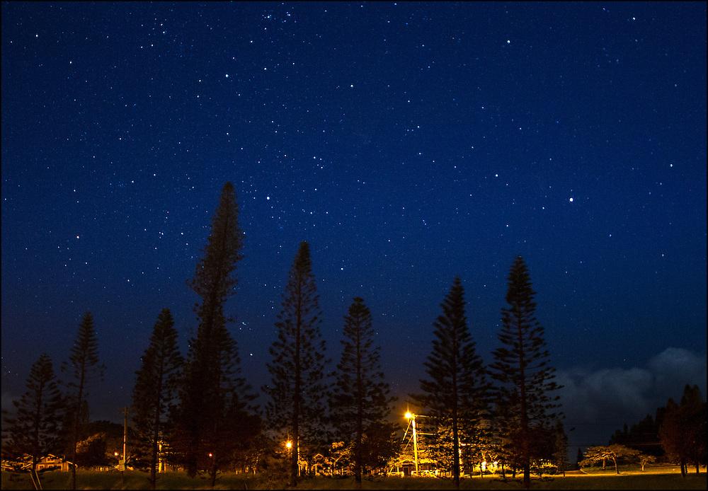 Maunaloa Town with stars. Molokai, Hawaii