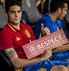 October 6, 2017 - Alicante, Spain - Bartra with a respect poster during the qualifying match for the World Cup Russia 2018 between Spain and Albaniaat the Jose Rico Perez stadium in Alicante, Spain on October 6, 2017. (Credit Image: © Jose Breton/NurPhoto via ZUMA Press)