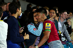 Marcus Smith of Harlequins receives a kiss on the cheek after the win over Sale Sharks - Mandatory by-line: Robbie Stephenson/JMP - 06/10/2017 - RUGBY - Twickenham Stoop - London, England - Harlequins v Sale Sharks - Aviva Premiership