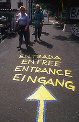 Multilingual sign reading Entrance in English; German; French and Spanish,