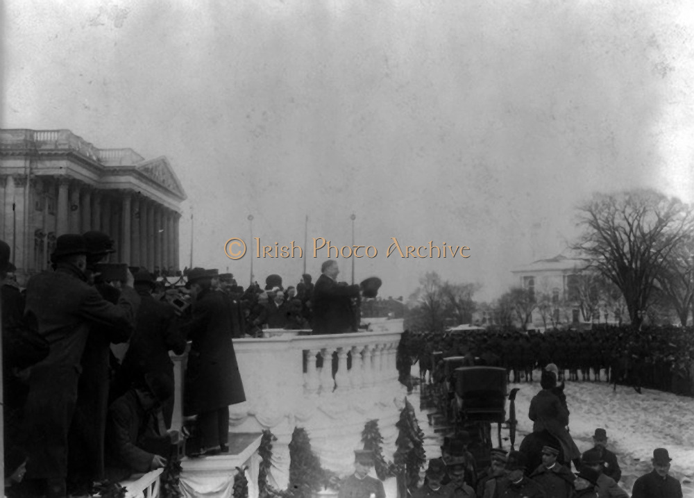 William Howard Taft (1857-1930) acknowledging  the cheers of the crowd at his inauguration as 27th President of the United States of America (1909-1913)