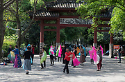 People dancing in Huanhua park for exercise and leisure in Chengdu, Sichuan, China