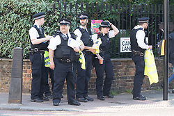 © Licensed to London News Pictures. 22/05/2018. London, UK. Police arrive at the crime scene cordon in Upper Street, Islington this morning. Police were called at approximately 18:30hrs on Monday, 21 May to reports of a man suffering stab injuries after being attacked in Upper Street.<br /> Officers and London Ambulance Service attended. The man was pronounced dead at the scene. Photo credit: Vickie Flores/LNP