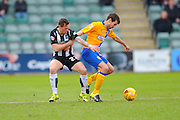 Plymouth Argyle's Craig Tanner and Mansfield Town's Matty Blair during the Sky Bet League 2 match between Plymouth Argyle and Mansfield Town at Home Park, Plymouth, England on 13 February 2016. Photo by Graham Hunt.