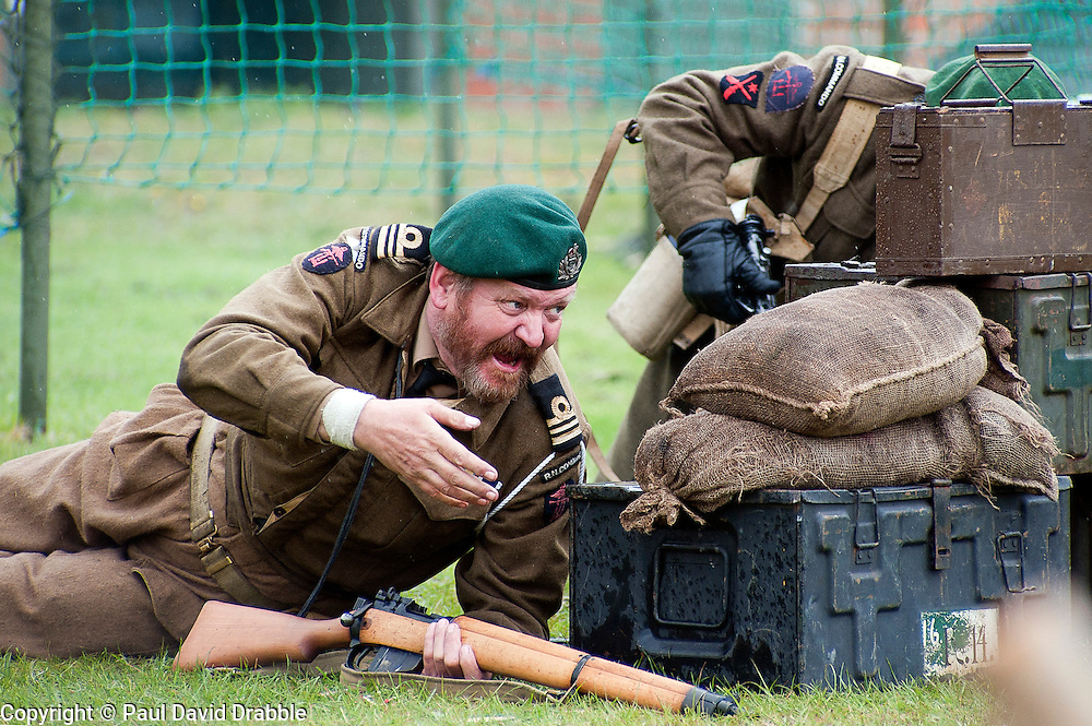 reenactors portray members of British Fox Commando Royal Navy during a battle reenactment at Fort Paull nr Hull on Monday 7 May 2012<br />