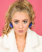 Image Theory Model Brenna Smith wearing pompom earings by Claire Drennan.
