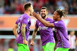Josh Brownhill of Bristol City celebrates scoring a goal with Bobby Reid - Mandatory by-line: Dougie Allward/JMP - 15/08/2017 - FOOTBALL - Griffin Park - Brentford, England - Brentford v Bristol City - Sky Bet Championship