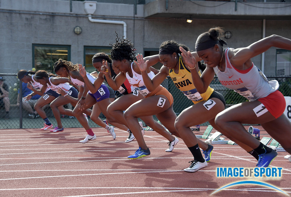 Jun 7, 2018; Eugene, OR, USA; Sprinters in the starting blocks of a women's 100m heat during the NCAA Track and Field championships at Hayward Field.Fro right: Brianne Bethel (Houston), Brittany Brown (Iowa), Teahna Daniels (Texas), Ashley Henderson (San Diego State), Aleia Hobbs (LSU), Kianna Gray (Kentucky), Natalliah Whyte (Auburn) and Jonielle Smith (Auburn).