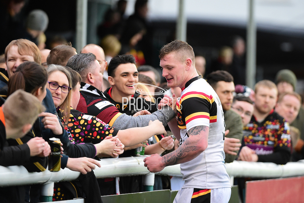 Bradford Bulls second row Josh Jordan Roberts (30) is popular with Bulls fans after the Kingstone Press Championship match between London Broncos and Bradford Bulls at Trailfinders Sports Club, Vallis Way, United Kingdom on 5 March 2017. Photo by Jon Bromley.