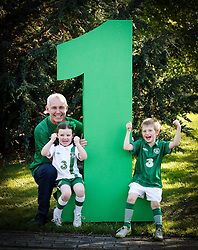No Fee for Repro: .The Official Euro Republic of Ireland Song for Euro 2012 Tops the Irish Charts. .The Ray D'Arcy Show celebrated the No. 1 hit with 'The Rocky Road to Poland', rocked to the top of the Irish Singles Charts. Ray is pictured celebrating with daughter Kate (5) and Briain Waters (5). All profits from the single will be split between John Giles Foundation and Today FM's Shave or Dye, which has already raised over ?1.38 million this year for the Irish Cancer Society. Pic Andres Poveda..For further information, please contact:.Gill Waters.Today FM Press Office.Tel: 01-804 9047