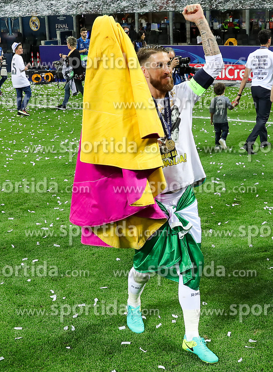 Sergio Ramos of Real Madrid celebrates as torero, bullfighter after his team won during football match between Real Madrid (ESP) and Atlético de Madrid (ESP) in Final of UEFA Champions League 2016, on May 28, 2016 in San Siro Stadium, Milan, Italy. Photo by Vid Ponikvar / Sportida