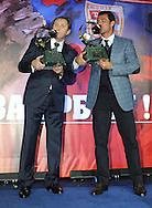 FUDBAL, BEOGRAD, 28. Dec. 2010. - Na svecanosti odrzanoj u hotelu 'Hajat' Fudbalski savez Srbije urucio je 'Zlatne lopte' Milovanu Rajevcu, najboljem srpskom treneru i Dejanu Stankovicu, najboljem fudbaleru u 2010. godini. Foto: Nenad Negovanovic