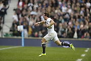 Twickenham, United Kingdom, England's Ben FODEN, running to  the posts during his run away disallowed try  2013 QBE  AutumnRugby International, England vs New Zealand, played  Saturday  16/11/2013 at the RFU Stadium Twickenham, England. [Mandatory Credit: Peter Spurrier/Intersport<br /> Images}