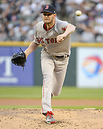 CHICAGO - MAY 30:  Chris Sale #41 of the Boston Red Sox pitches against the Chicago White Sox on May 30, 2017 at Guaranteed Rate Field in Chicago, Illinois.  (Photo by Ron Vesely) Subject:   Chris Sale