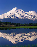 Mount Shasta Reflected in Grassy Lake, Klamath National Forest California USA