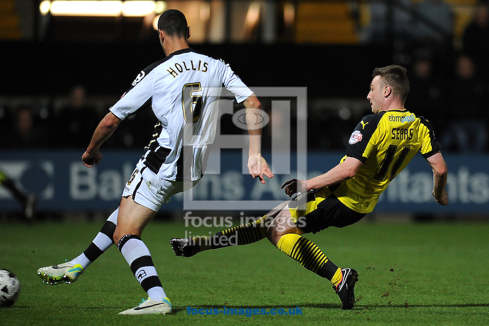 Freddie Sears of Colchester United scores a goal to make the scoreline 1-1 during the Sky Bet League 1 match at Meadow Lane, Nottingham<br /> Picture by Richard Blaxall/Focus Images Ltd +44 7853 364624<br /> 19/08/2014
