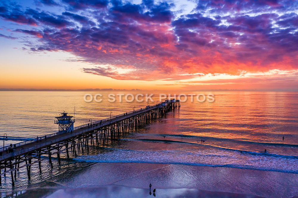 Surfing During Sunset at the San Clemente Pier