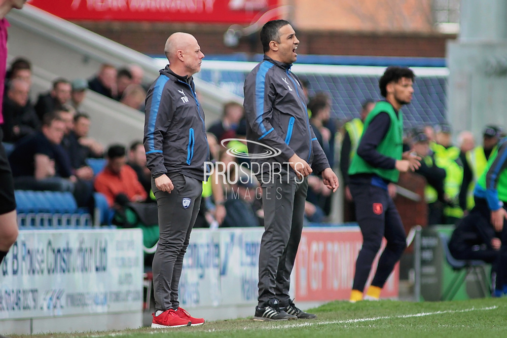 Chesterfield manager Jack Lester shouts orders during the EFL Sky Bet League 2 match between Chesterfield and Mansfield Town at the Proact stadium, Chesterfield, England on 14 A pril 2018. Picture by Nigel Cole.